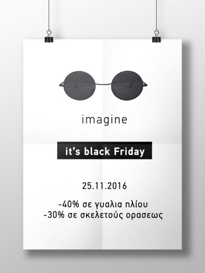 Imagine it's black Friday Poster for Manthos Group Optical